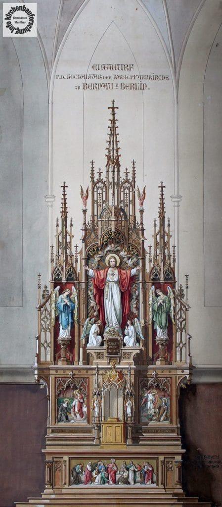 Mayer`sche Hofkunstanstalt, Entwurf, Altar, Hochaltar, Herz Jesu
