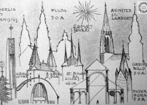 Weihnachtskarte von Reinhard Hofbauer, Nachkriegsmoderne, St. Canisius, kirchenbauforschung